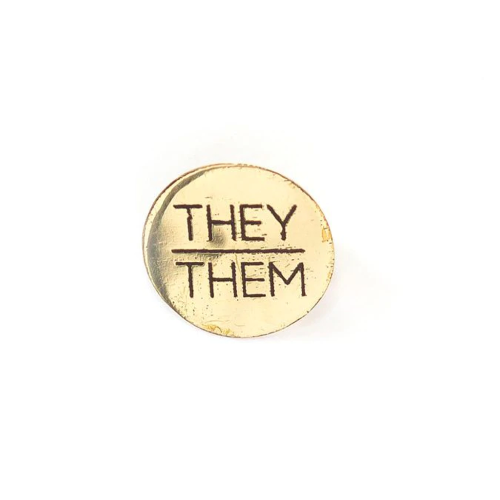 Fair Anita They/Them Pronoun Round Pin