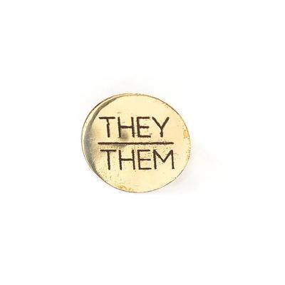 Fair Anita They/Them Pronoun Round Pin