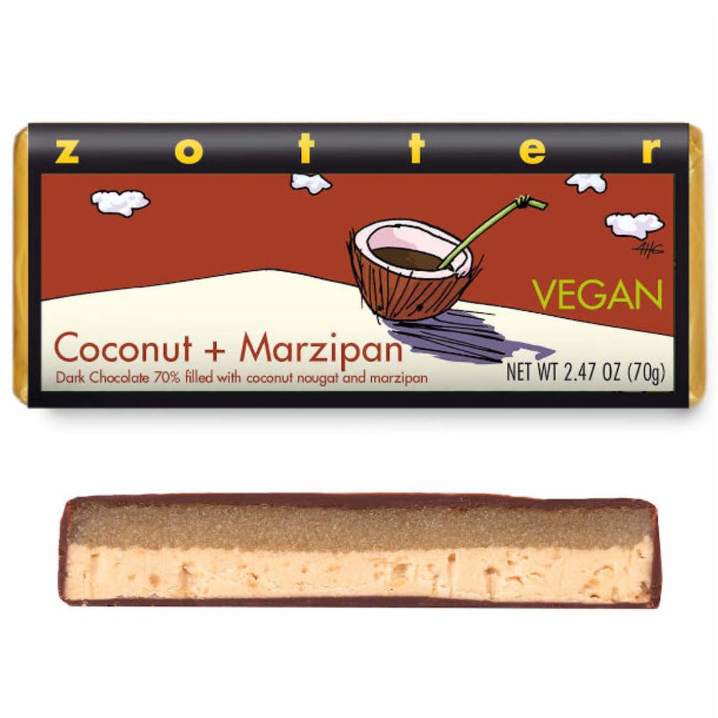 Zotter Chocolate Coconut & Marzipan Vegan  Hand-Scooped Chocolate