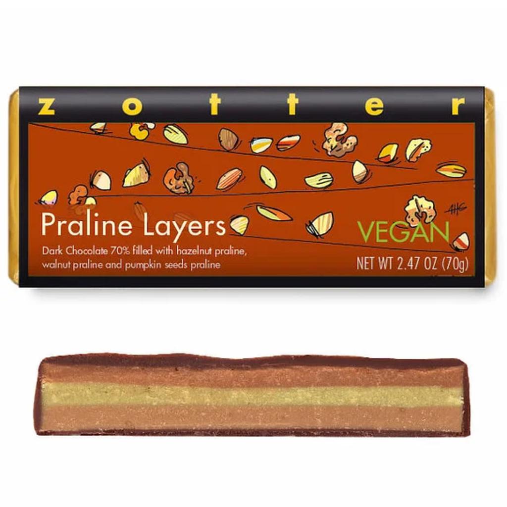 Zotter Chocolate Praline Layers Vegan Hand-Scooped Chocolate