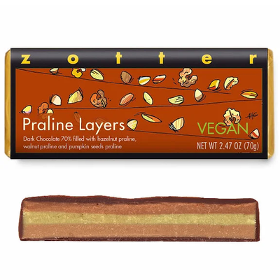 Zotter Chocolate Praline Layers Vegan Hand-Scooped Chocolate
