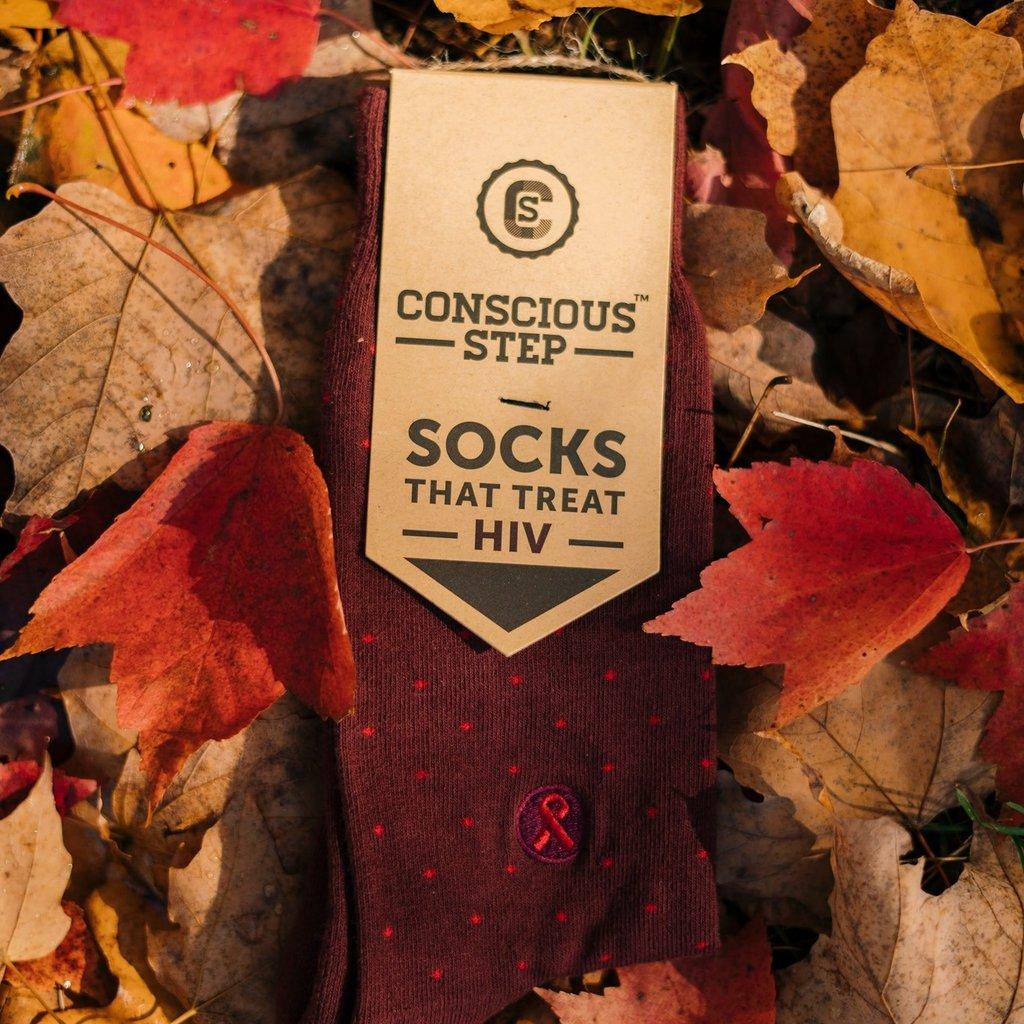 Conscious Step Socks that Treat HIV Maroon Polka Dots