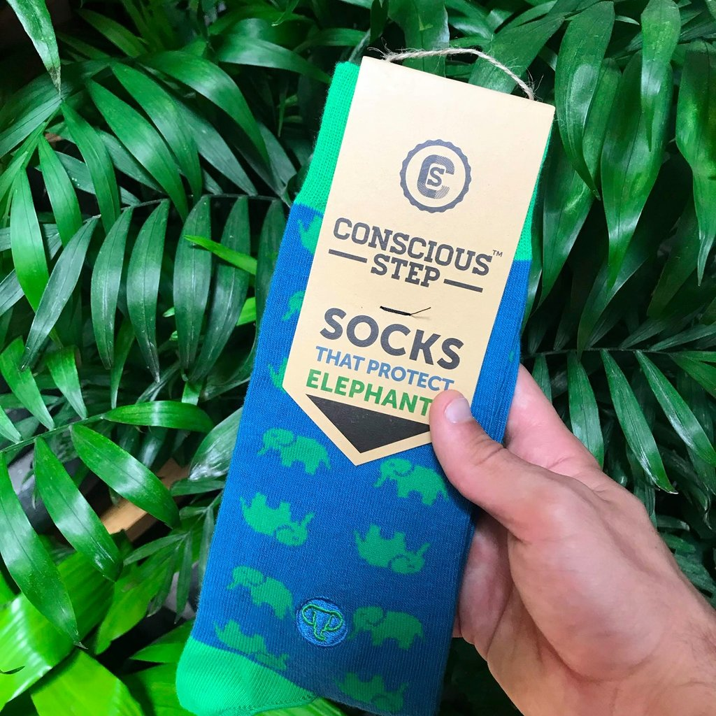 Conscious Step Socks that Protect Elephants Blue/Green
