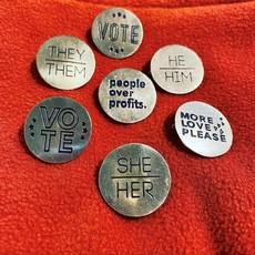 Fair Anita More Love Please Round Pin