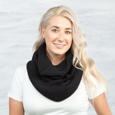 Maggie's Organics Organic Cotton Chunky Rib Knit Infinity Scarf: Black