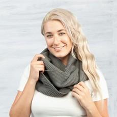 Maggie's Organics Organic Cotton Chunky Rib Knit Infinity Scarf: Charcoal