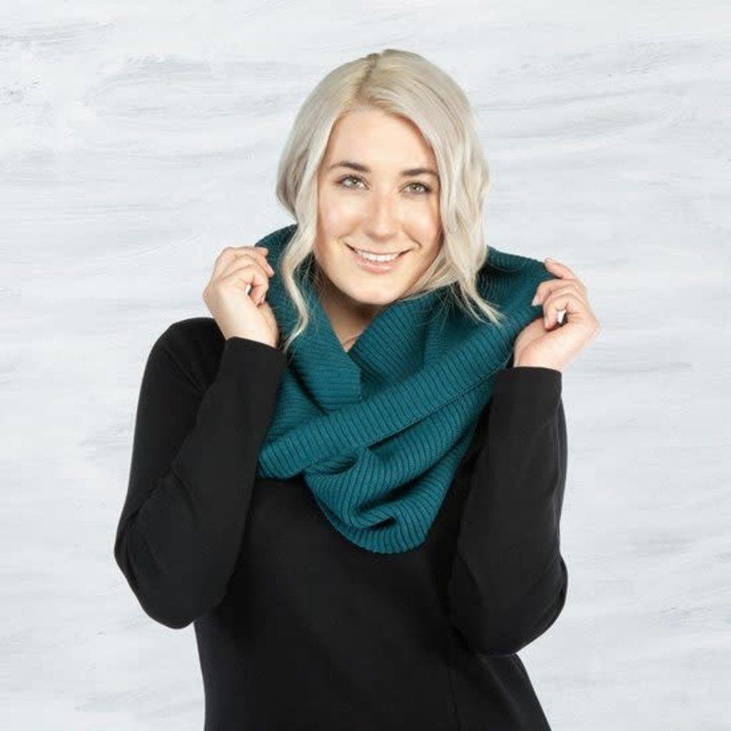 Maggie's Organics Organic Cotton Chunky Rib Knit Infinity Scarf: Teal