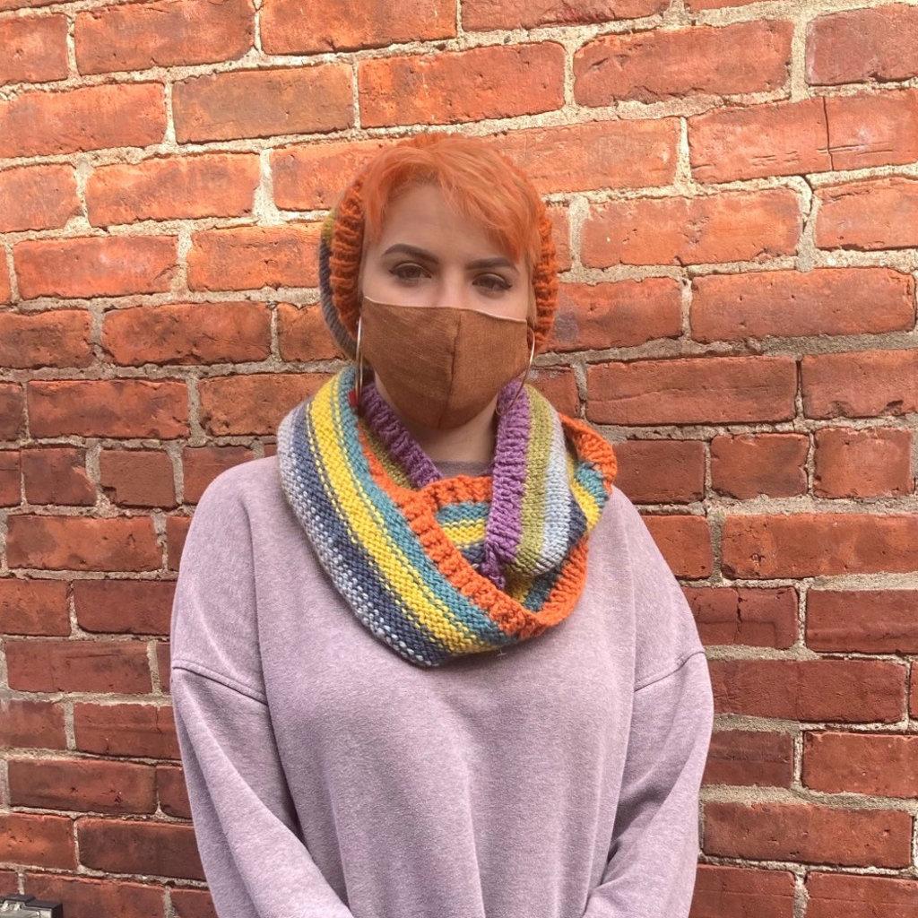 Creation Hive Kenyan Sunrise Merino Wool Striped Infinity Scarf