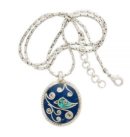 Ten Thousand Villages Mosaic Bird Lapis Pendant