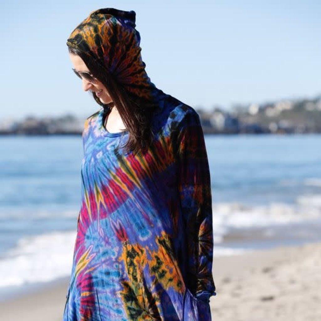 Unique Batik Tie Dye Hoodie Tunic: Blue