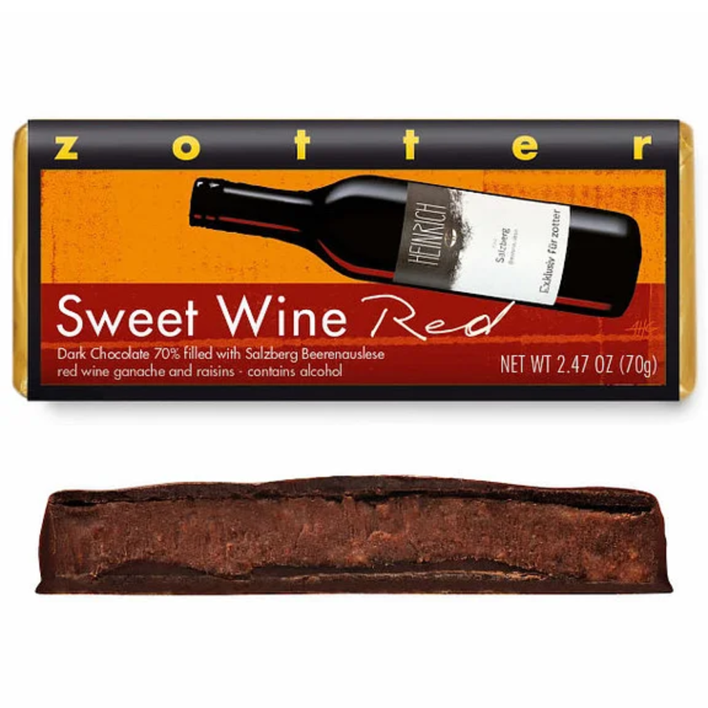 Zotter Chocolate Sweet Wine Red Hand-Scooped Chocolate