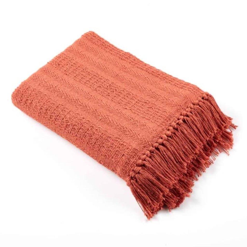 Serrv Rethread Brick Orange Throw Blanket