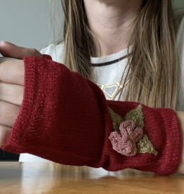 Ella Ember Baby Alpaca Winter Flower Wrist Warmer: Red