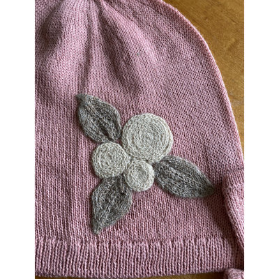 Ella Ember Baby Alpaca Winter Flower Hat: Baby Pink
