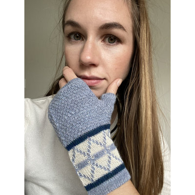 Ella Ember Baby Alpaca Lulu Wrist Warmer: Gray/Ivory/Aqua