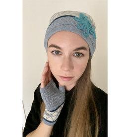 Ella Ember Baby Alpaca Lulu Hat: Grey/Ivory/Aqua