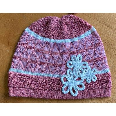 Ella Ember Baby Alpaca Lulu Hat: Tomato/Baby Pink/Ivory