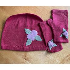 Ella Ember Baby Alpaca Winter Flower Hat: Red