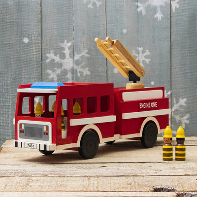 Mr Ellie Pooh Wooden Fire Truck Toy with Firefighters