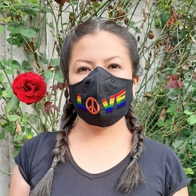 Lucia's Imports Rainbow Love Face Mask Large