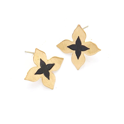 Fair Anita Wildflower Brass Stud Earrings