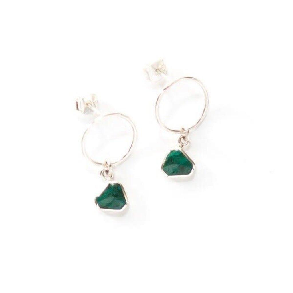 Fair Anita Drop Circle Green Chrysocolla Sterling Earrings