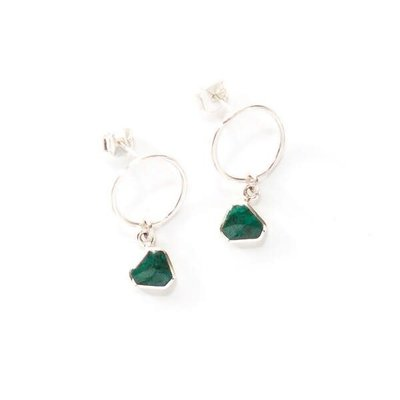 Fair Anita Drop Circle Green Chrysocolla Sterling Earrings
