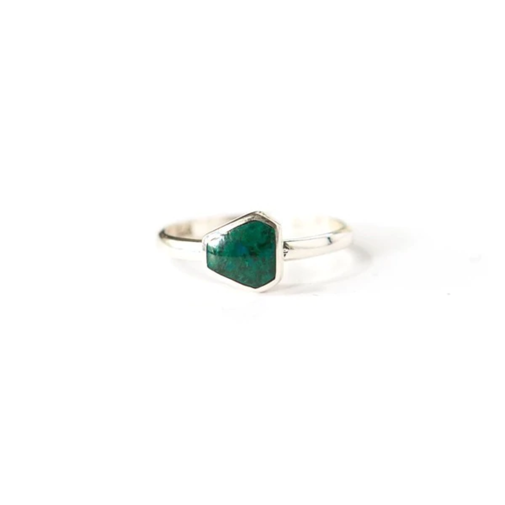 Fair Anita Geometric Green Chrysocolla Sterling Ring
