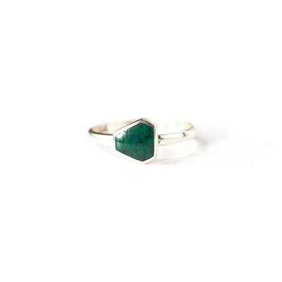 Fair Anita Geometric Green Chrysocolla Sterling Ring