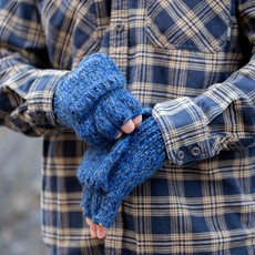 Andes Gifts Blended Knit Glittens: Cobalt