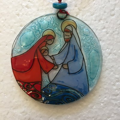 PamPeana Joseph Nativity Fused Glass Ornament