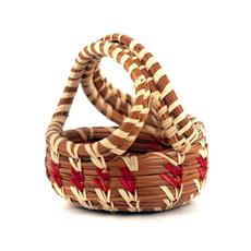 Mayan Hands Miniature Pine Needle Handle Basket