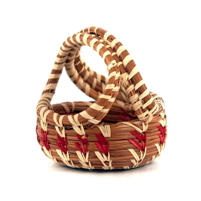 Mayan Hands Miniature Pine Needle Handle Basket