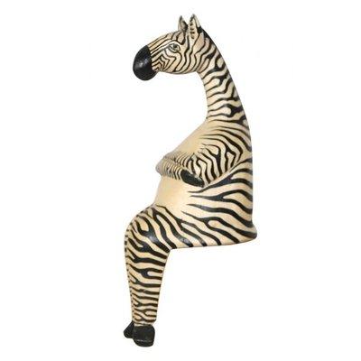 Ten Thousand Villages Large Zebra Wood Shelf Sitter
