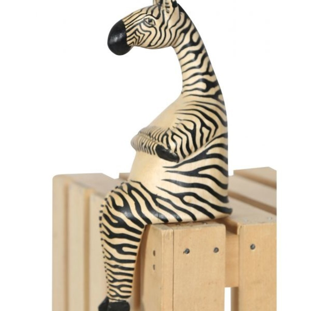 Ten Thousand Villages Large Zebra Wood Shelf Sitter