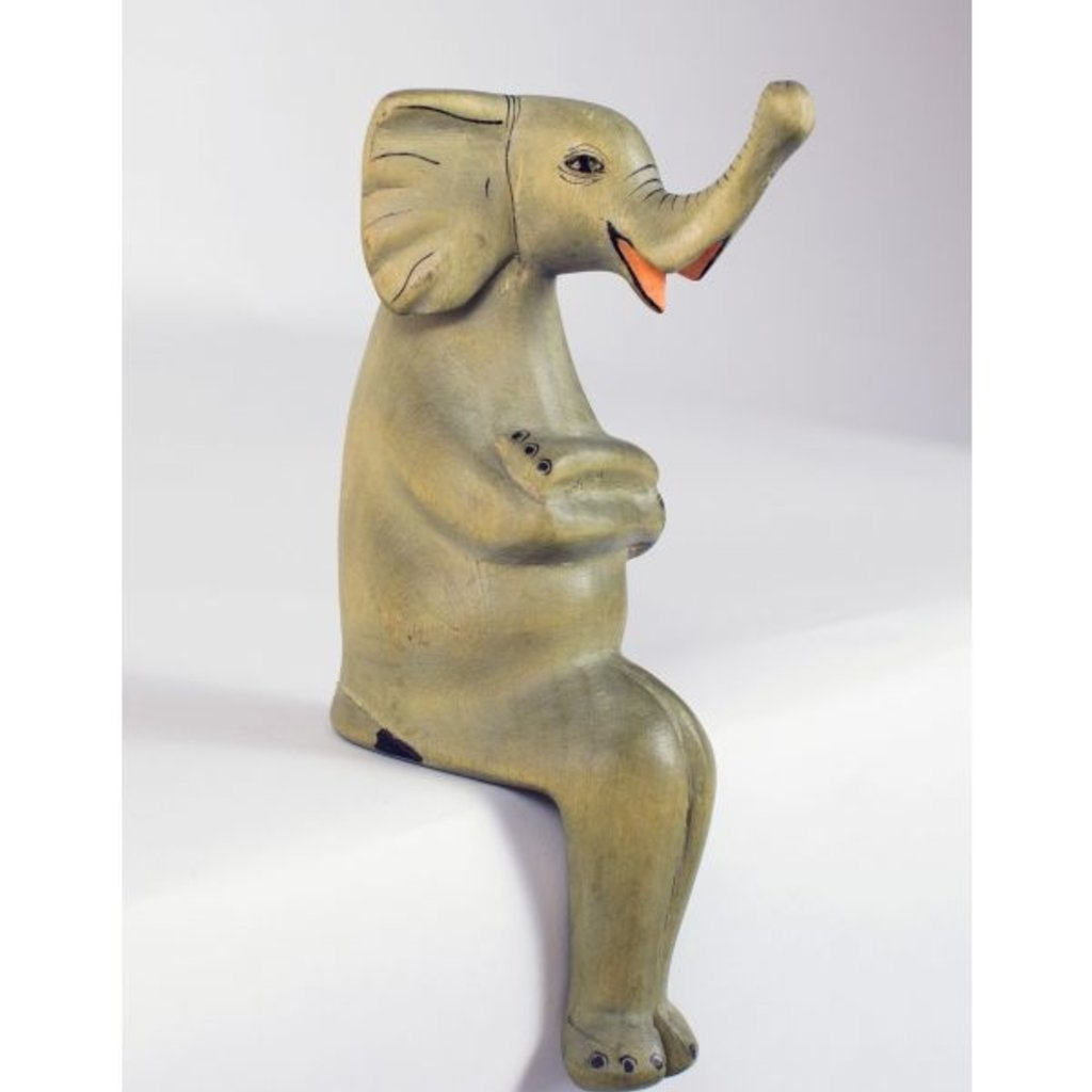 Ten Thousand Villages Large Elephant Wood Shelf Sitter