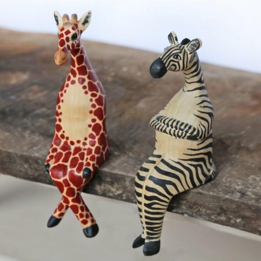 Ten Thousand Villages Little Zebra Wood Shelf Sitter