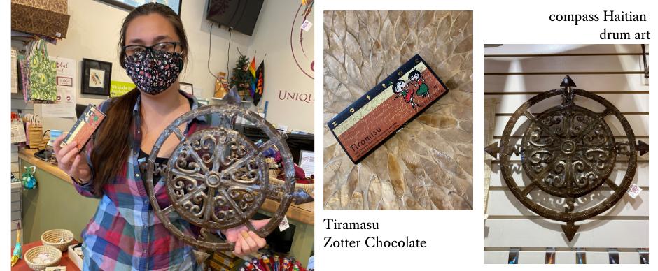 Kaylynn's favorite Tiramasu Zotter chocolate and drum art.