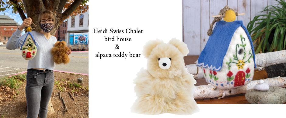Linnea's favorite wool bird house and teddy bear