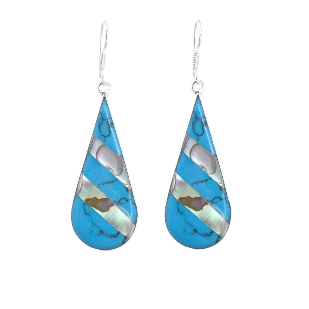 Global Crafts Turquoise & Abalone Stripe Teardrop Earrings