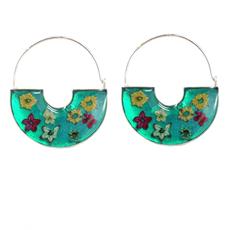 Global Crafts Pressed Flower Green Basket Sterling Earrings