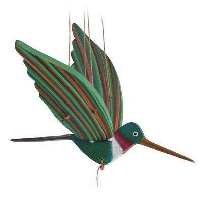 Tulia's Artisan Gallery Flying Ruby-Throated Hummingbird Mobile
