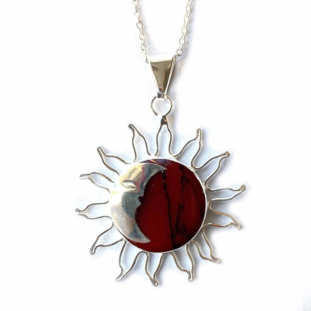 Global Crafts Sun & Moon Red Jasper Pendant Necklace