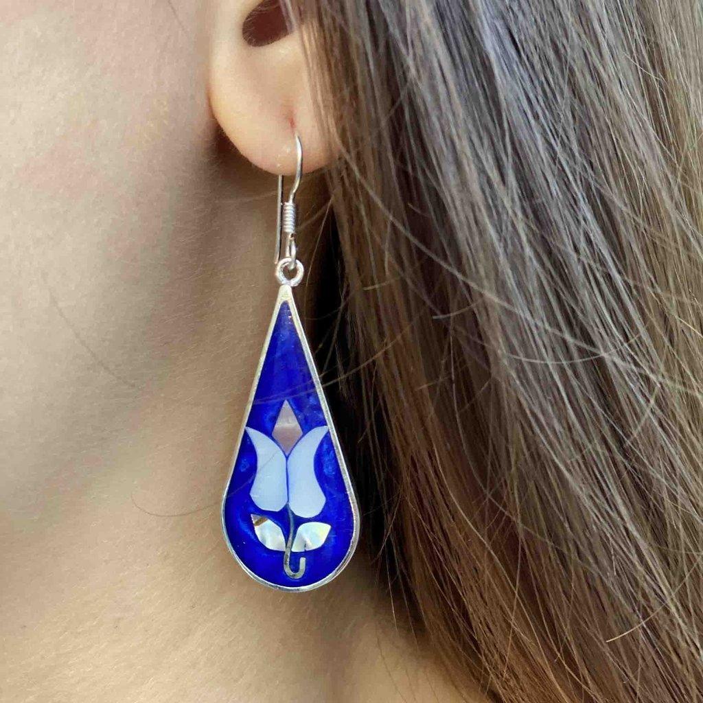Global Crafts Tulip Abalone Teardrop Earrings