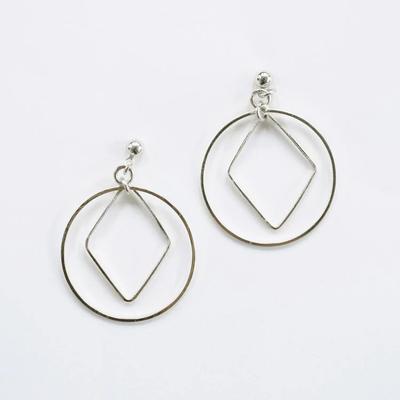 Mata Traders Diamond Hoop Studs Silver