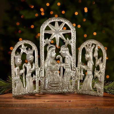 Serrv Trifold Metal Drum Art Nativity