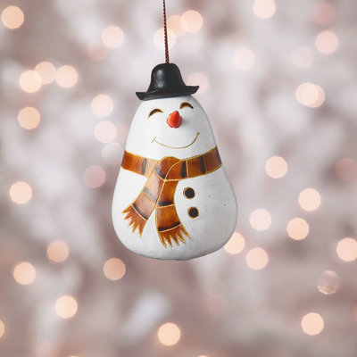 Serrv Happy Snowperson Gourd Ornament