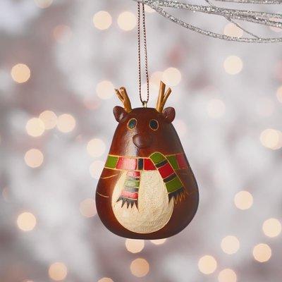 Serrv Little Antler Reindeer Gourd Ornament