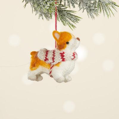 Serrv Corgi Felt Dog Ornament