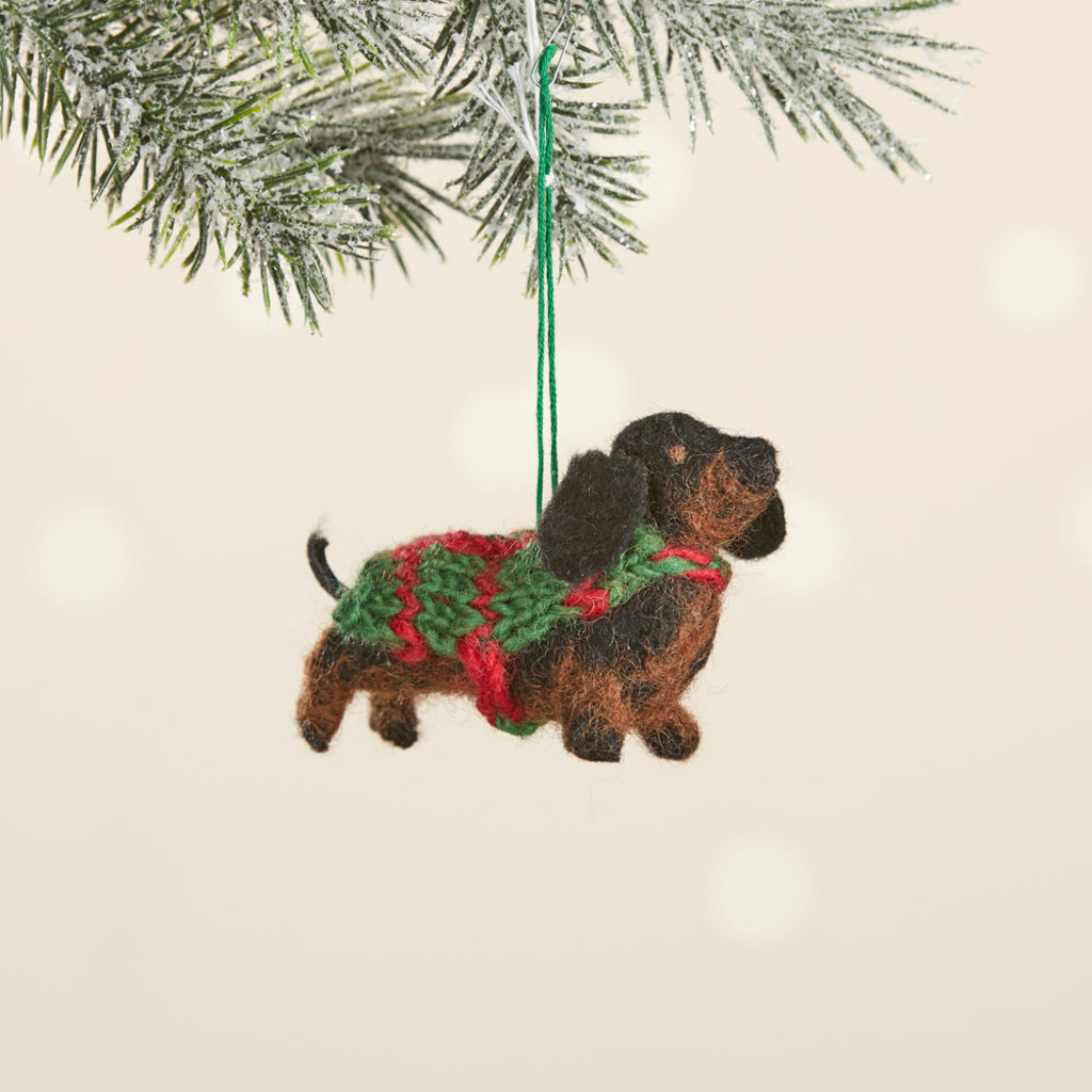 Serrv Dachshund Felt Dog Ornament